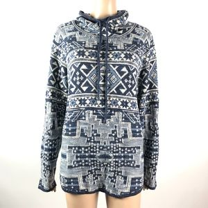 ChapsAztec Asymmetrical Sweater Cowl Neck Blue